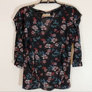 Free People Small Black Sheer Floral Top